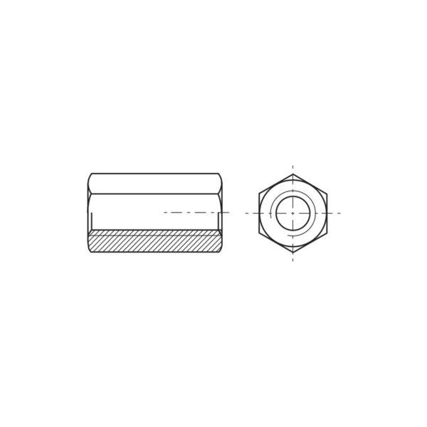 Dadi esagonali di prolungamento alti 3 volte il diametro