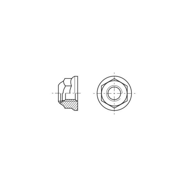 Dadi esagonali autobloccanti flangiati con anello in poliammide incorporato