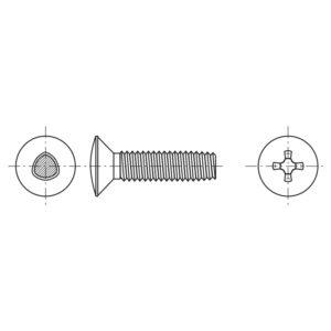 Viti autoformanti sezione trilobata a testa svasata con calotta ed impronta a croce