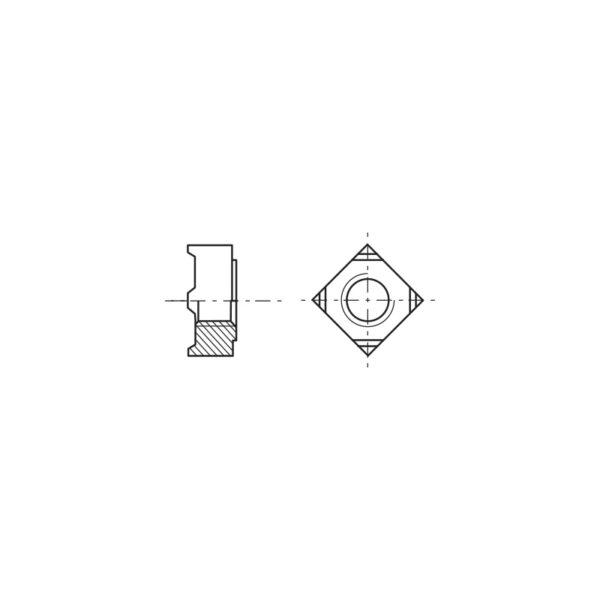 Dadi quadri da saldare a proiezione con bugne triangolari
