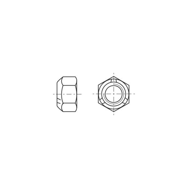 Dadi esagonali autobloccanti metallici, per alte temperature - Passo fine