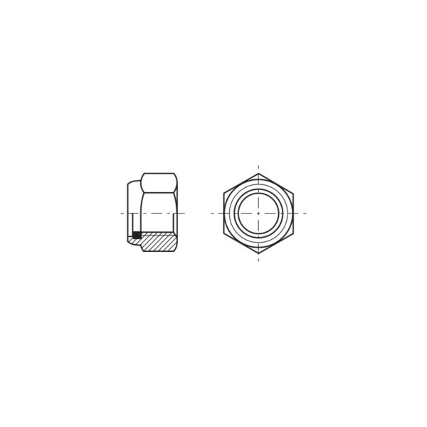 Dadi esagonali autobloccanti alti con anello in poliammide incorporato - Passo grosso