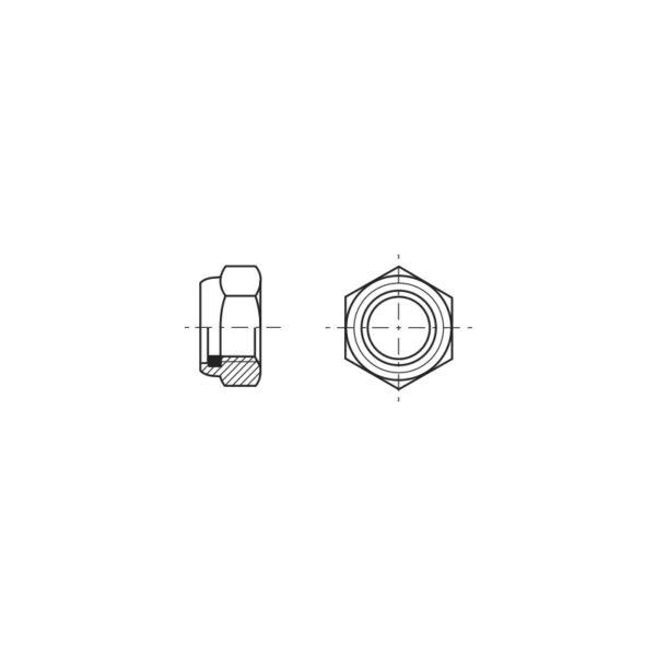 Dadi esagonali autobloccanti bassi con anello in poliammide incorporato - Passo fine