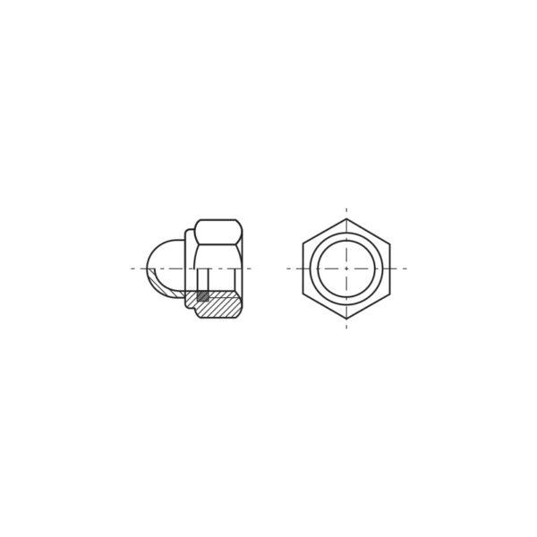 Dadi esagonali autobloccanti con calotta ed anello in poliammide