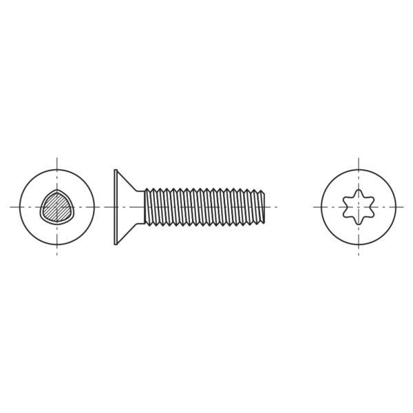 Viti autoformanti sezione trilobata a testa svasata piana ed impronta esalobata