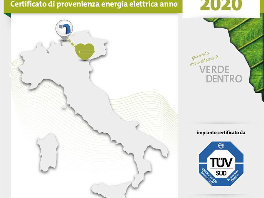 Certificato di provenienza energia elettrica verde