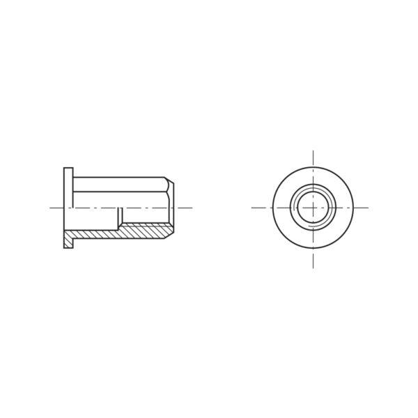 Inserti filettati a testa cilindrica e gambo esagonale - Tipo FTTE