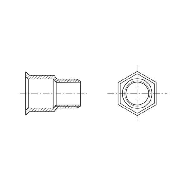 Inserti filettati testa ridotta e gambo parzialmente esagonale - Tipo FTRE