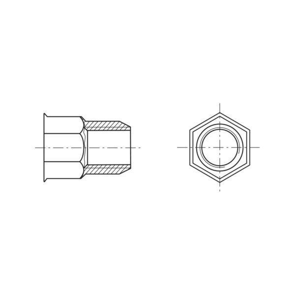 Inserti filettati a testa ridotta e gambo parzialmente esagonale - Tipo IE
