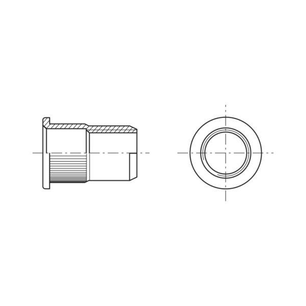 Inserti filettati a testa cilindrica zigrinati - Tipo FTT-Z